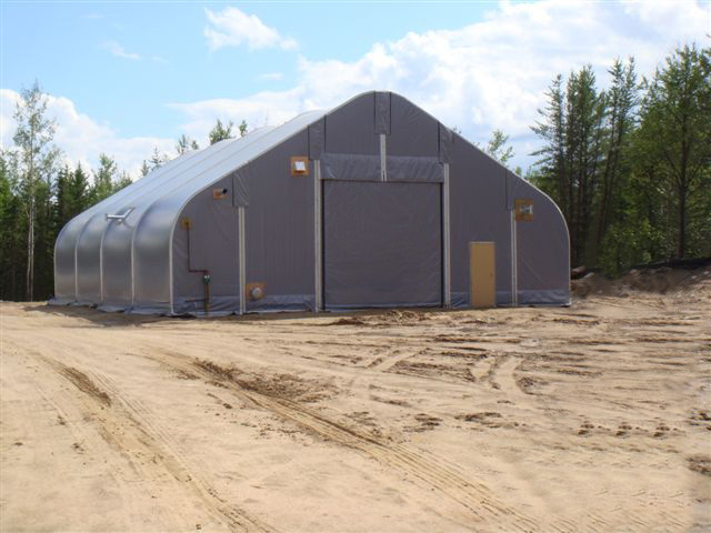 Alaska Structures fabric building used as workshop for mining facility.